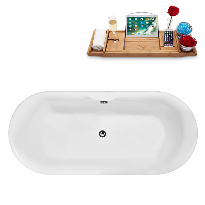 "67"" Streamline N-1800-67FSWH-FM Freestanding Tub and Tray With Internal Drain"