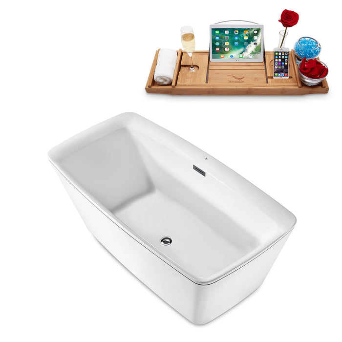 "59"" Streamline N-2000-59FSWH-FM Freestanding Tub and Tray With Internal Drain"