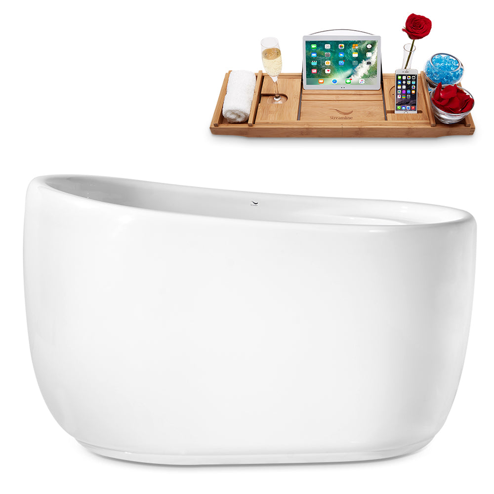 "51"" Streamline N-2040-51FSWH-FM Freestanding Tub and Tray With Internal Drain"