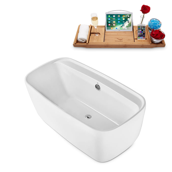 "59"" Streamline N-2060-59FSWH-FM Freestanding Tub and Tray With Internal Drain"
