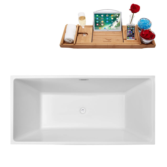 "66"" Streamline N-260-66FSWH-FM Soaking Freestanding Tub and Tray With Internal Drain"