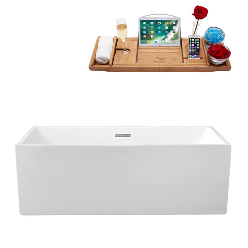 "58"" Streamline N-262-58FSWH-FM Soaking Freestanding Tub and Tray With Internal Drain"
