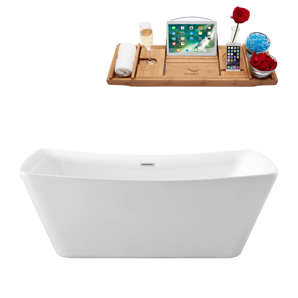 "62"" Streamline N-540-62FSWH-FM Soaking Freestanding Tub and Tray With Internal Drain"