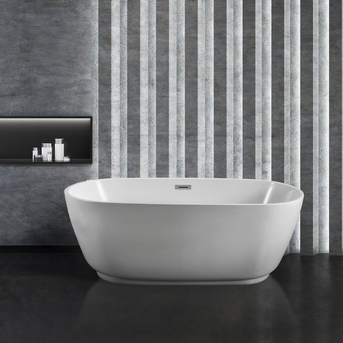 "59"" Streamline N-560-59FSWH-FM Soaking Freestanding Tub and Tray With Internal Drain"