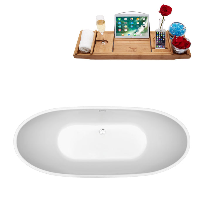 "66"" Streamline N-581-66FSWH-FM Soaking Freestanding Tub and Tray With Internal Drain"