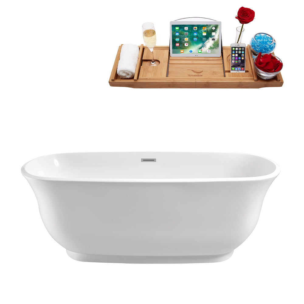"59"" Streamline N-660-59FSWH-FM Soaking Freestanding Tub and Tray With Internal Drain"