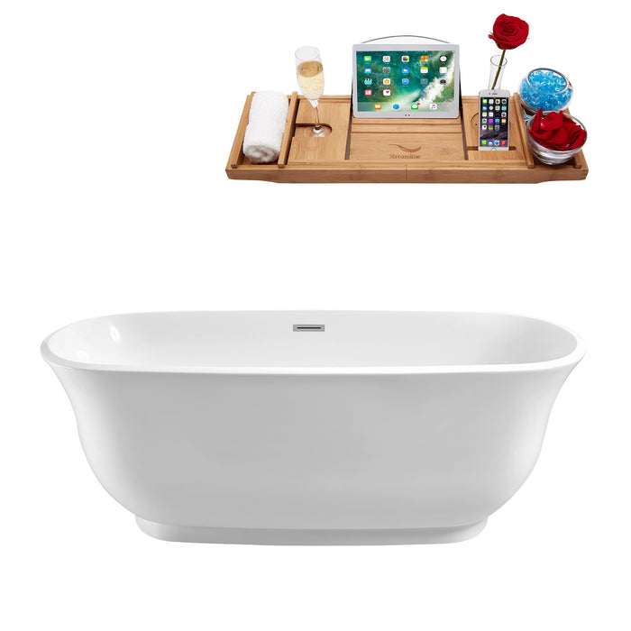 "67"" Streamline N-661-67FSWH-FM Soaking Freestanding Tub and Tray With Internal Drain"