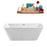 "59"" Streamline N-680-59FSWH-FM Soaking Freestanding Tub and Tray With Internal Drain"