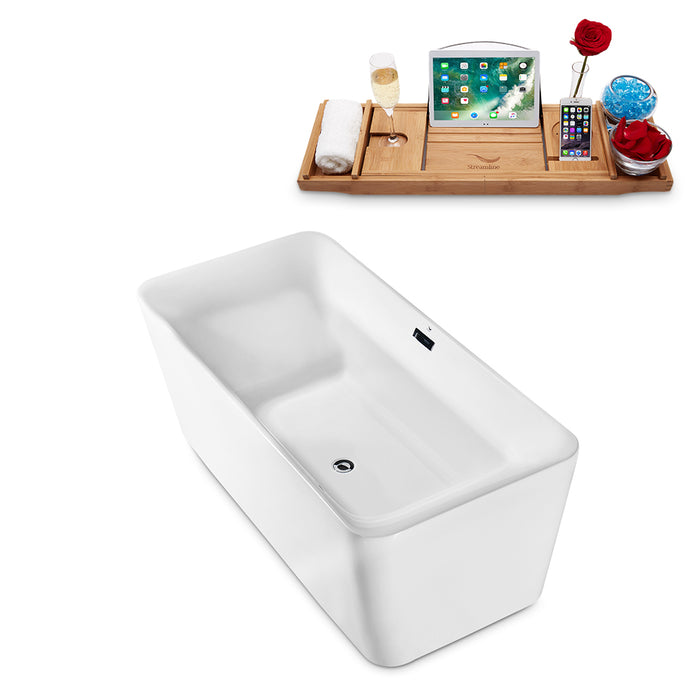 "63"" Streamline N-682-63FSWH-FM Freestanding Tub and Tray With Internal Drain"