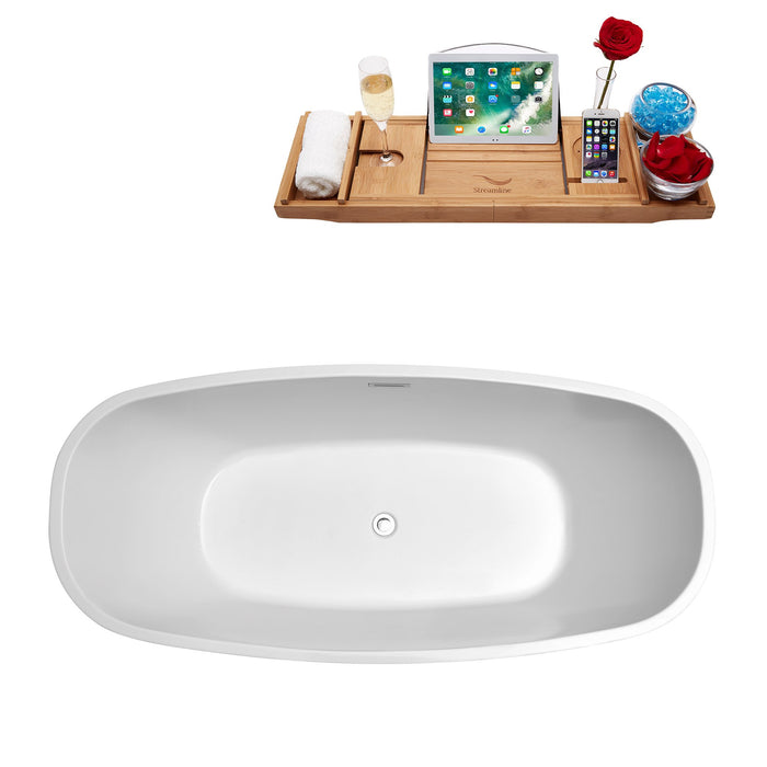"59"" Streamline N-700-59FSWH-FM Soaking Freestanding Tub and Tray With Internal Drain"