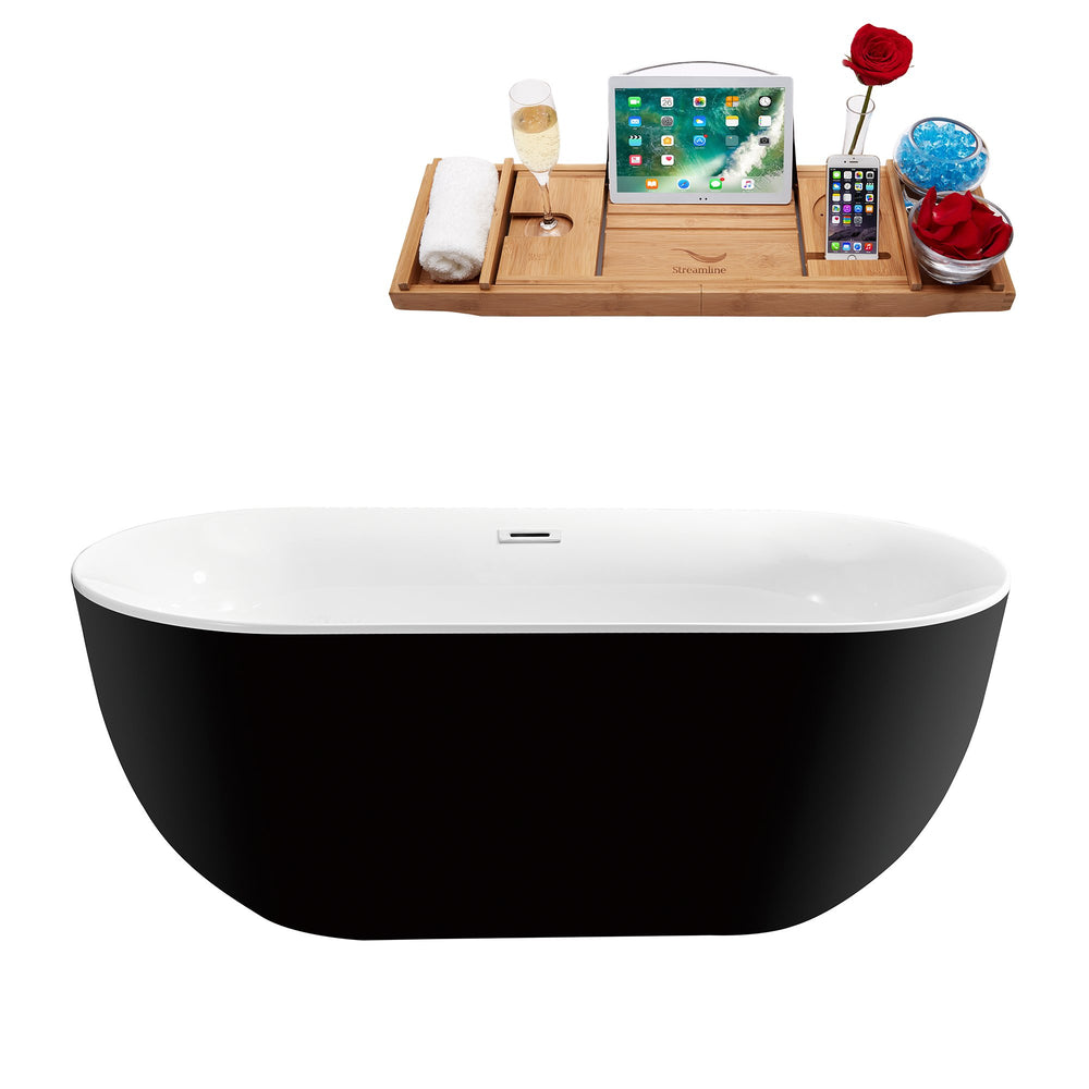 "59"" Streamline N-801-59FSBL-FM Soaking Freestanding Tub and Tray With Internal Drain"