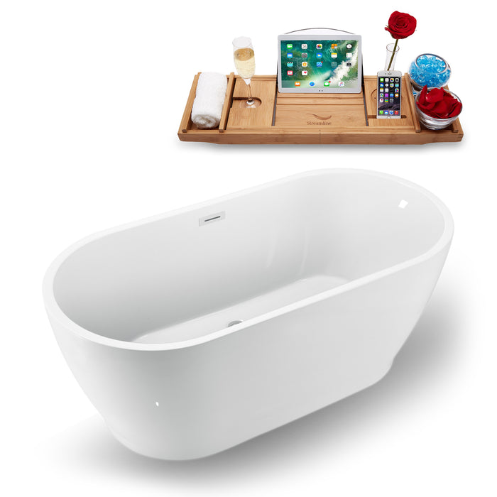 "59"" Streamline N-880-59FSWH-FM Freestanding Tub and Tray With Internal Drain"