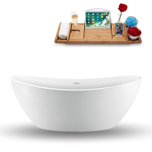 "75"" Streamline N-940-75FSWH-FM Freestanding Tub and Tray With Internal Drain"