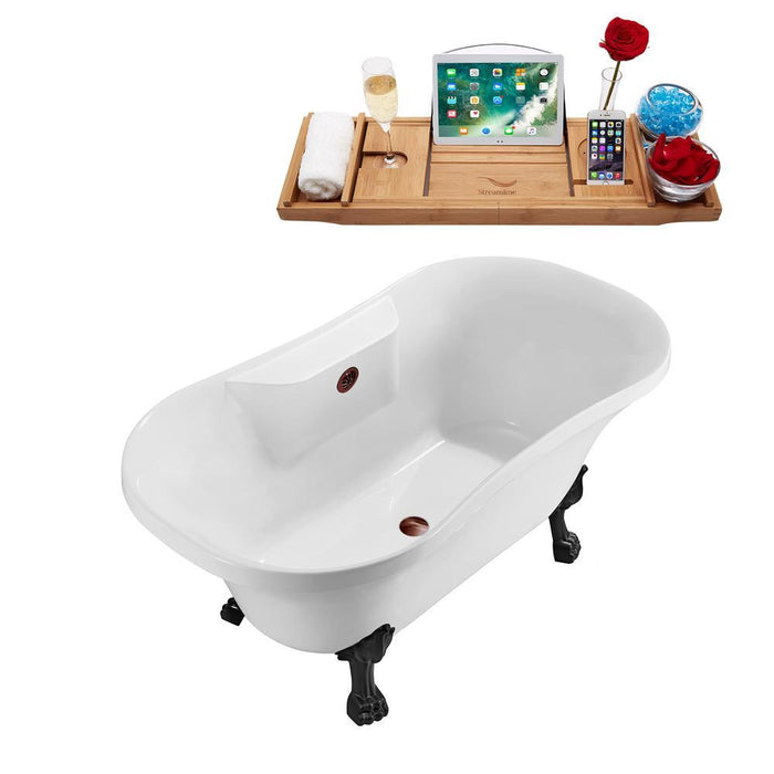 "60"" Streamline N100BL-ORB Soaking Clawfoot Tub and Tray With External Drain"