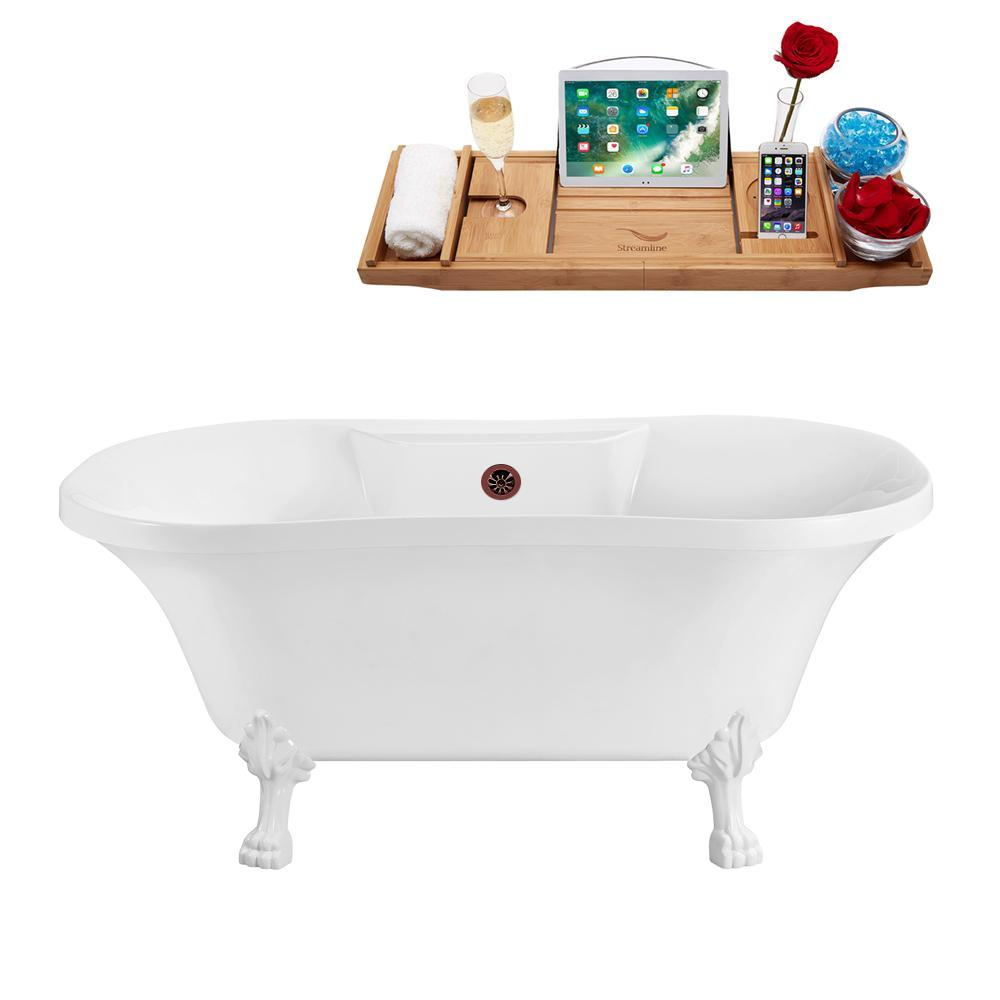 "60"" Streamline N100WH-ORB Soaking Clawfoot Tub and Tray With External Drain"