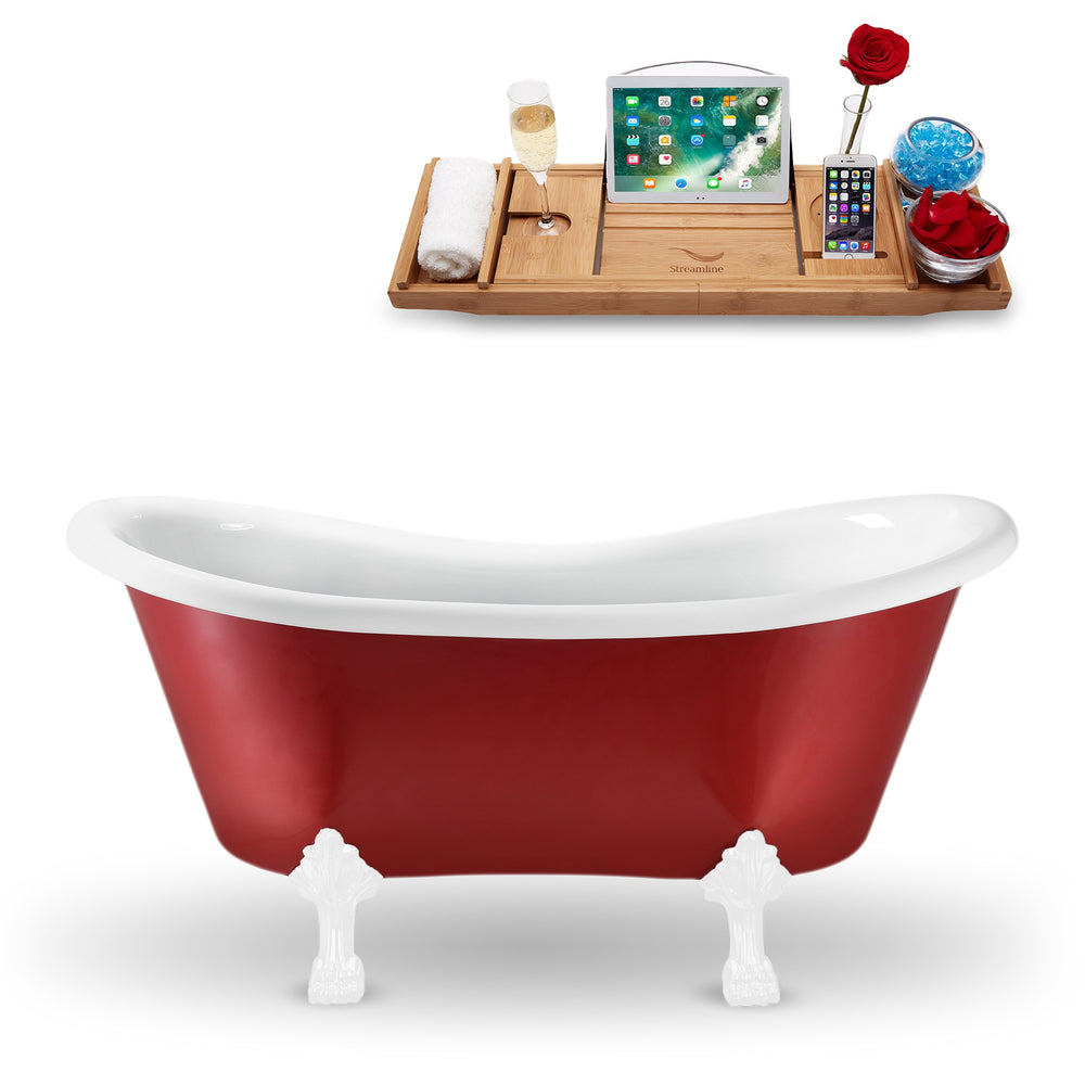 "62"" Streamline N1021WH Clawfoot Tub and Tray With Internal Drain"