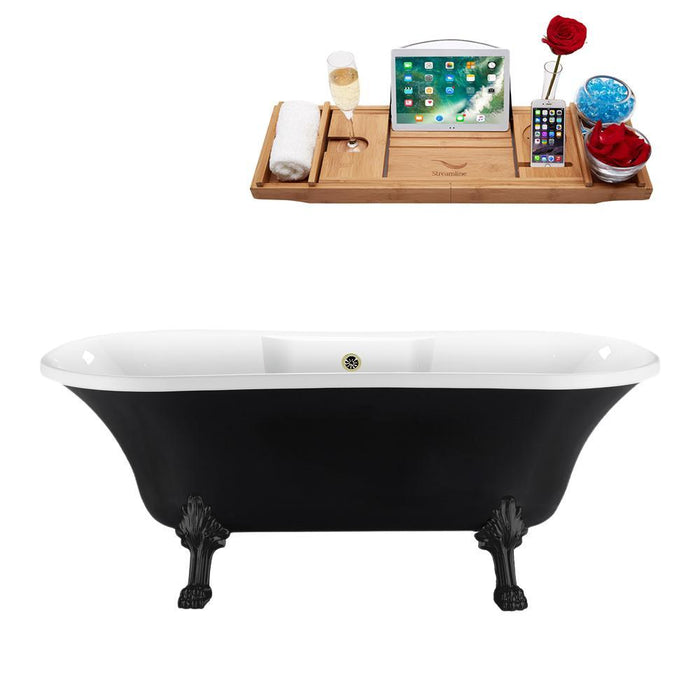 "68"" Streamline N103BL-BNK Clawfoot Tub and Tray With External Drain"