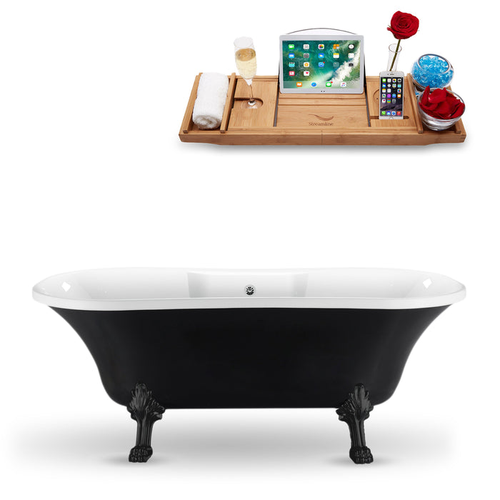 "68"" Streamline N103BL-CH Clawfoot Tub and Tray With External Drain"