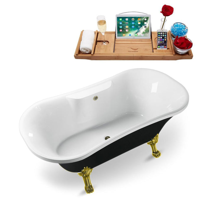 "68"" Streamline N103GLD-BNK Clawfoot Tub and Tray With External Drain"
