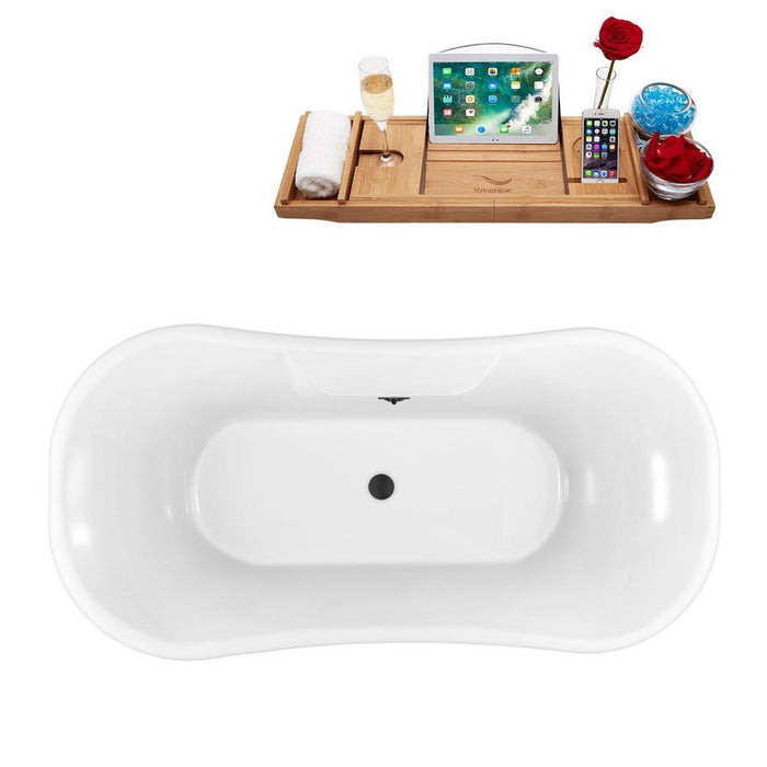 "68"" Streamline N103WH-BL Clawfoot Tub and Tray With External Drain"