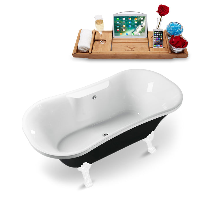 "68"" Streamline N103WH-CH Clawfoot Tub and Tray With External Drain"