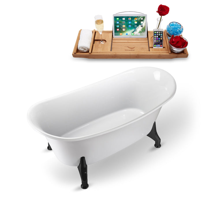 "59"" Streamline N1080BL Clawfoot Tub and Tray With Internal Drain"