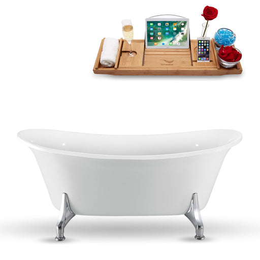 "59"" Streamline N1080CH Clawfoot Tub and Tray With Internal Drain"