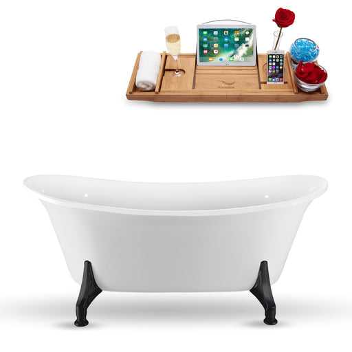"67"" Streamline N1081BL Clawfoot Tub and Tray With Internal Drain"