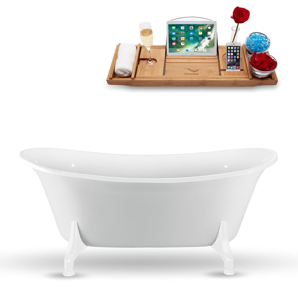 "67"" Streamline N1081WH Clawfoot Tub and Tray With Internal Drain"