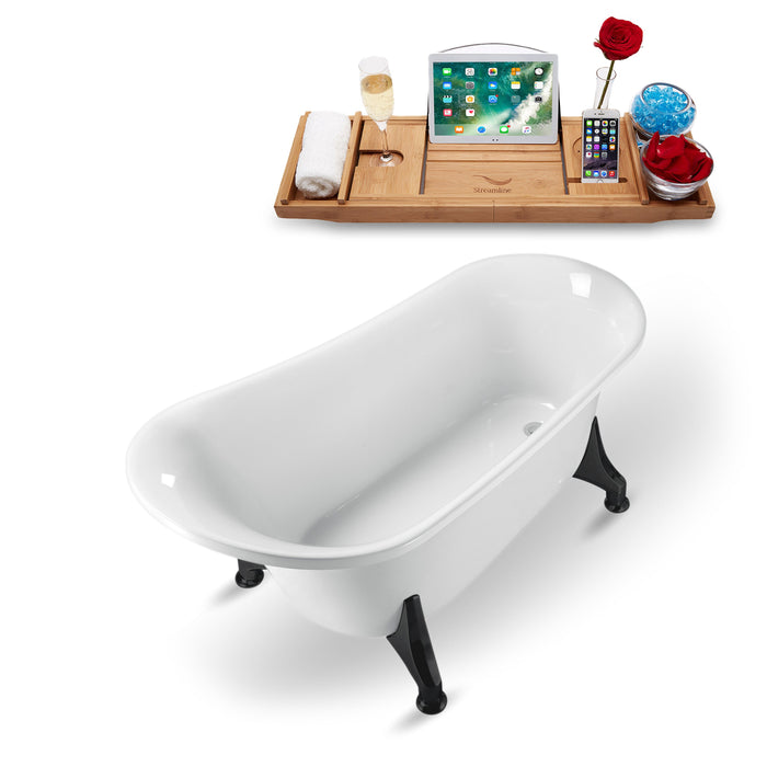 "59"" Streamline N1100BL Clawfoot Tub and Tray With Internal Drain"