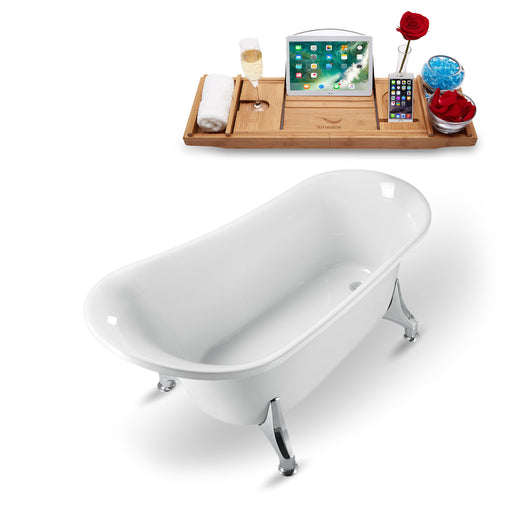 "59"" Streamline N1100CH Clawfoot Tub and Tray With Internal Drain"