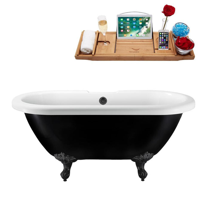"59"" Streamline N1120BL-BL Clawfoot Tub and Tray With External Drain"