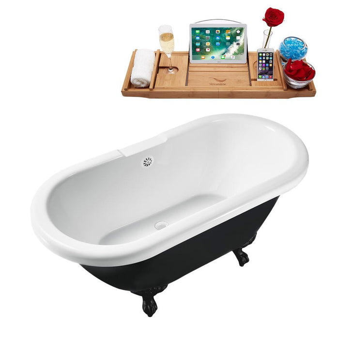 "59"" Streamline N1120BL-WH Clawfoot Tub and Tray With External Drain"