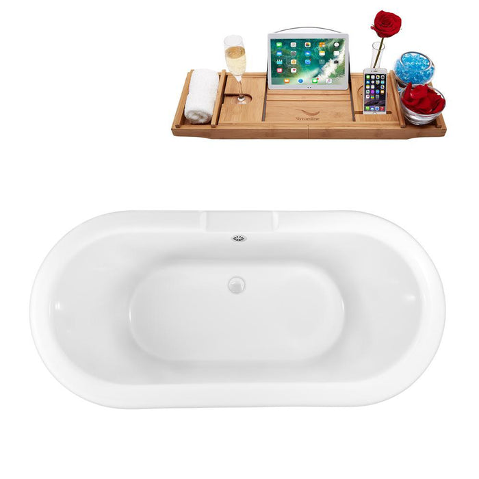 "59"" Streamline N1120CH-WH Clawfoot Tub and Tray With External Drain"