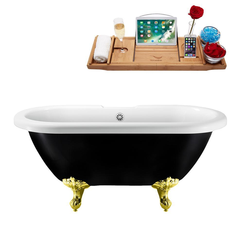 "59"" Streamline N1120GLD-WH Clawfoot Tub and Tray With External Drain"