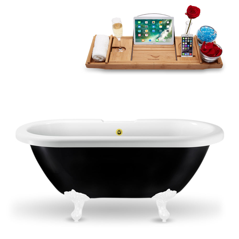 "59"" Streamline N1120WH-GLD Clawfoot Tub and Tray With External Drain"