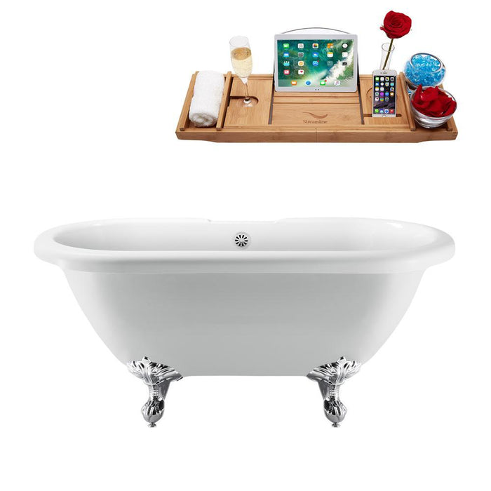 "67"" Streamline N1121CH-WH Clawfoot Tub and Tray With External Drain"