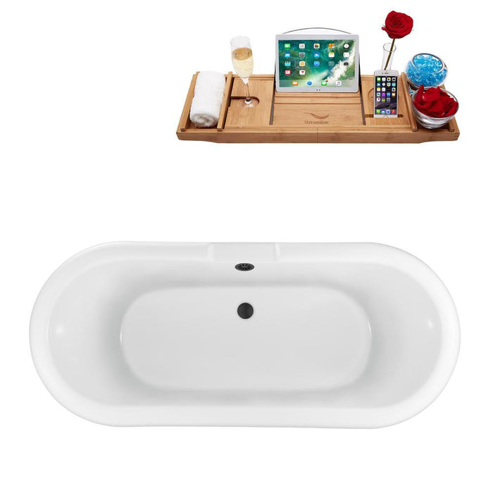 "67"" Streamline N1121GLD-BL Clawfoot Tub and Tray With External Drain"