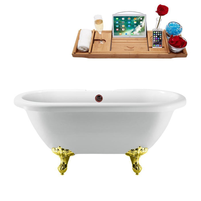"67"" Streamline N1121GLD-ORB Clawfoot Tub and Tray With External Drain"