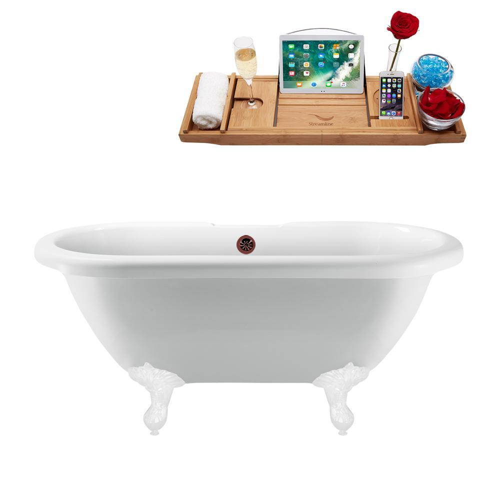 "67"" Streamline N1121WH-ORB Clawfoot Tub and Tray With External Drain"