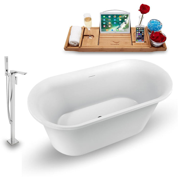 "59"" Streamline N1560BL-140 Freestanding Tub and Tray with Internal Drain"