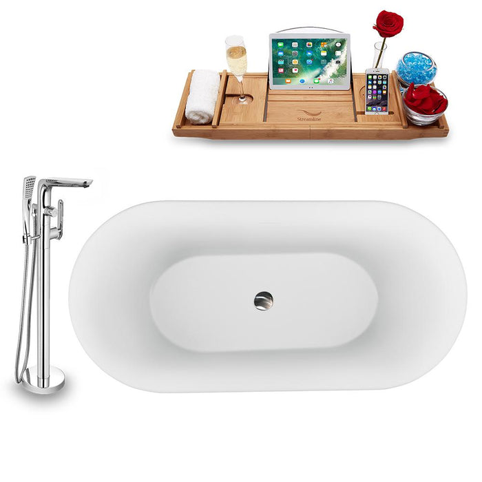 "59"" Streamline N1560BNK-120 Freestanding Tub and Tray with Internal Drain"