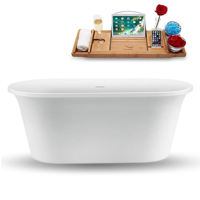 "59"" Streamline N1560ROB Freestanding Tub and Tray with Internal Drain"
