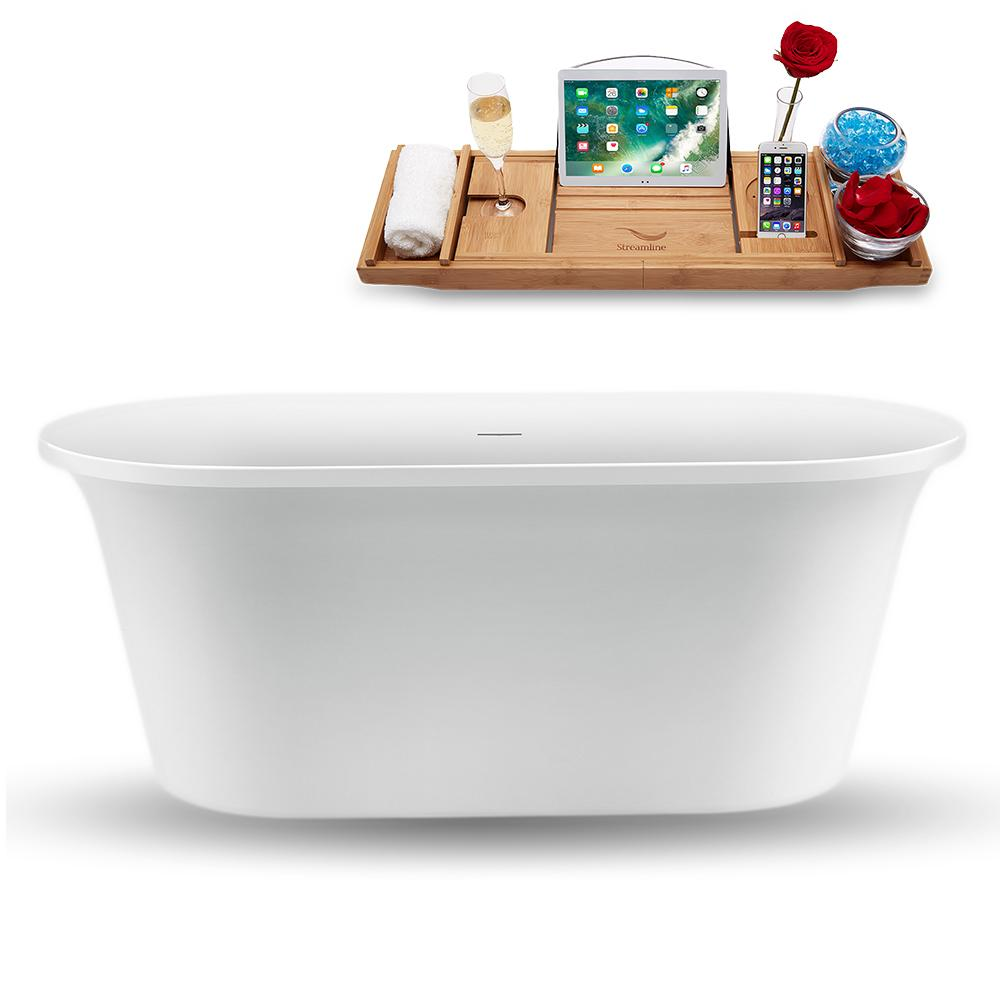 "59"" Streamline N1560WH Freestanding Tub and Tray with Internal Drain"
