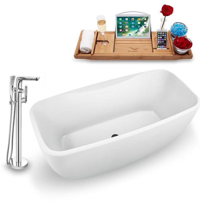 "59"" Streamline N1620BL-120 Freestanding Tub and Tray with Internal Drain"