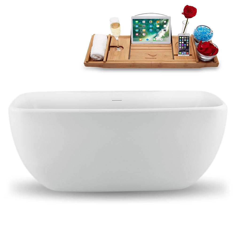 "59"" Streamline N1620BNK Freestanding Tub and Tray with Internal Drain"