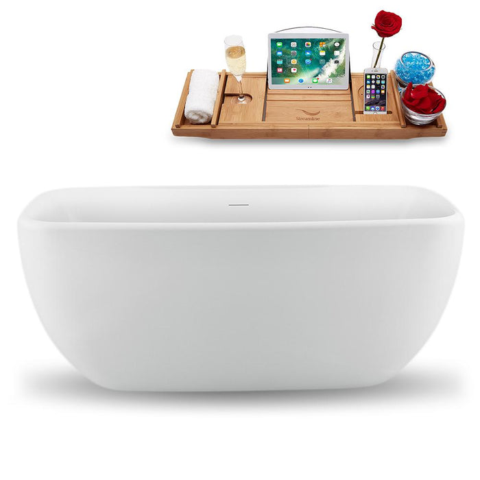 "59"" Streamline N1620ROB Freestanding Tub and Tray with Internal Drain"