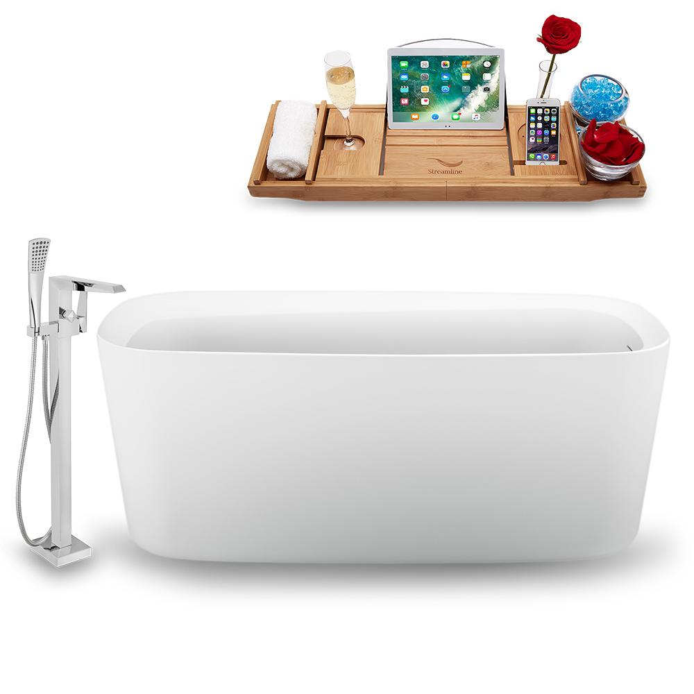 "59"" Streamline N1640BL-100 Freestanding Tub and Tray with Internal Drain"