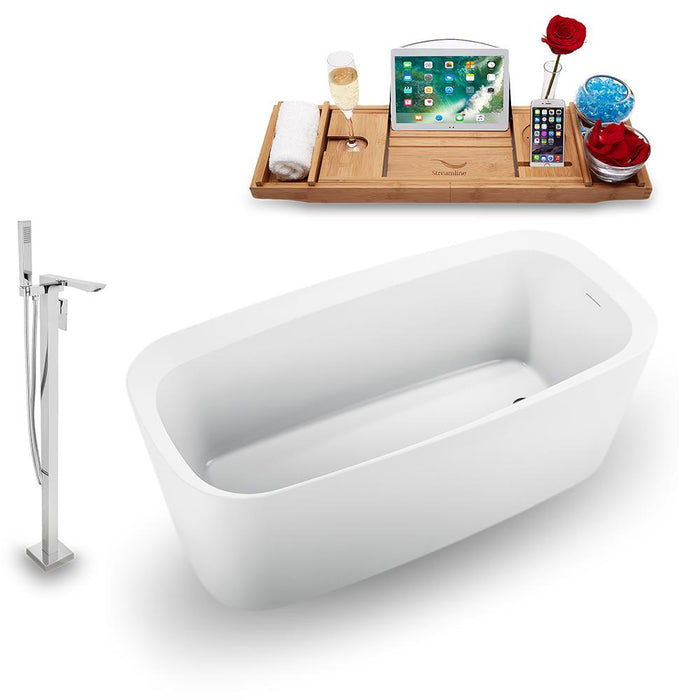 "59"" Streamline N1640BL-140 Freestanding Tub and Tray with Internal Drain"