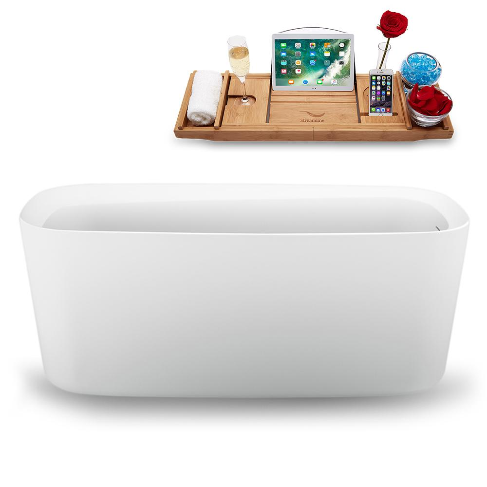 "59"" Streamline N1640BNK Freestanding Tub and Tray with Internal Drain"